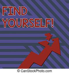 mostrando, negócio, apontar, foto, quebra-cabeça, jigsaw, cima, você mesmo, nota, showcasing, piece., parte, selfsufficient, seta, coisas, yourself., tornar-se, destacado, escrita, achar