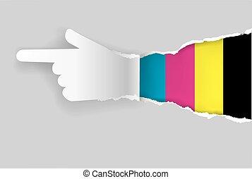 mostrando, papel, direção, mão