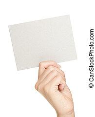mostrando, papel, sinal mão