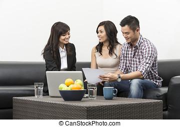 mostrando, planos, consultor, par, investimento asian,...