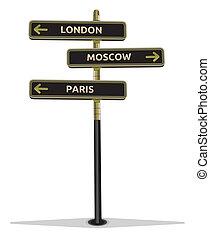 mostrando, rua, cidades, sinal