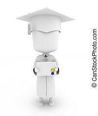 mostrando, seu, certificado, graduado