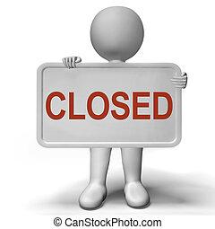 mostrando, sinal, fechado, tempo, encerramento, loja varejo