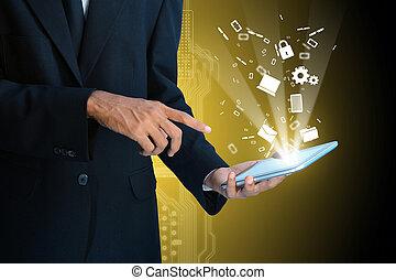 mostrando, tecnologia, esperto, futurista, mão