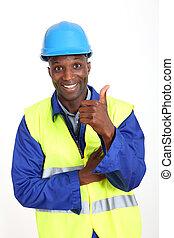 mostrando, trabalhador construção, polegar cima