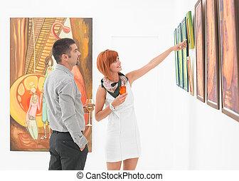 mostrando, trabalho, galeria arte, artista