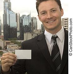 mostrando, um, cartão negócio