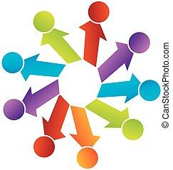 mostrando, unidade, junto, pessoas