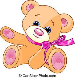 mostrando, urso, pelúcia
