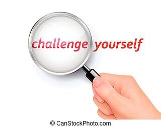mostrando, você mesmo, vidro, através, desafio, magnificar