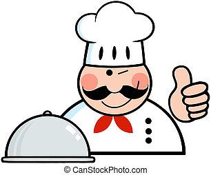 mostrando, winked, cima, cozinheiro, polegares, logotipo