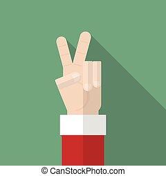 mostrar,  Claus, mão, vitória,  santa, sinal