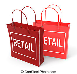 mostrar, comercial, comércio, varejo, sacolas, vendas