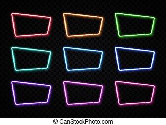 mostrar, estilo, quadrado, clube, illustration., cor, quadro, noturna, néon, forma., cobrança, sinal, jogo, projeto fixo, barzinhos, em branco, 80s, vetorial, template., element.