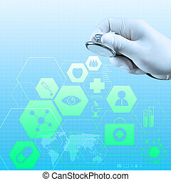 mostrar, médico, computador, Estetoscópio, mãos,  interface