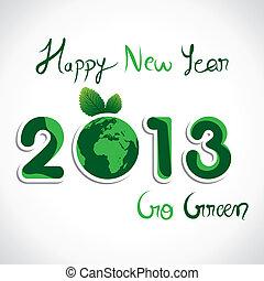 mostrar, verde, ano, ir, novo, mensagem, 2013