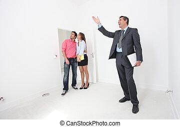 mostrato, intorno, essendo, coppia, proprietà-agente, proprietà
