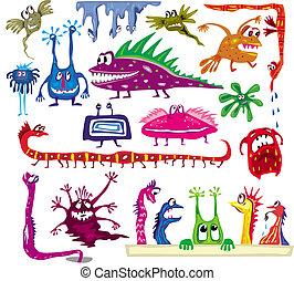 mostri, set, colorato, cartone animato