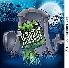 mostro, film, orrore, segno, zombie, o, film