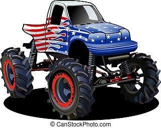 mostro, isolato, vettore, camion, fondo, bianco, cartone animato