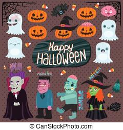 mostro, set, halloween, -, dracula, zombie, strega