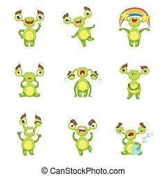 mostro verde, carattere, differente, emozioni, e, situazioni, set