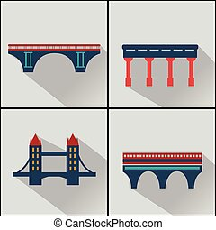 mosty, set., wektor, odizolowany, ikony