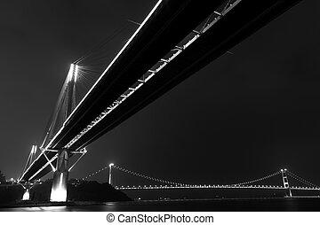 mosty, w, hongkong, w nocy