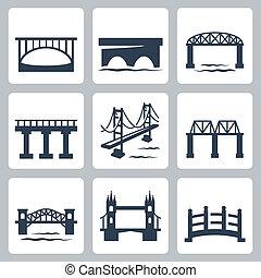 mosty, wektor, komplet, odizolowany, ikony