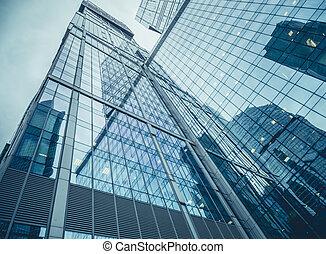 """moszkva, oroszország, -, szeptember, 13, 2016:, modern, pohár, felhőkarcoló, alatt, a, üzletközpont, """"moscow-city"""""""