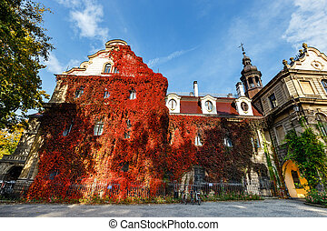 Moszna Castle, historic palace located in a village of Moszna, Upper Silesia, Poland