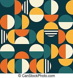 motívum, 70, tervezés, minimalista, mid-century, karikák, ...
