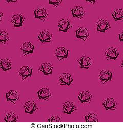 motívum, agancsrózsák, seamless, kicsi