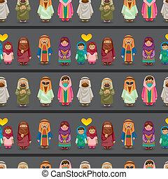 motívum, arab, emberek, seamless, karikatúra