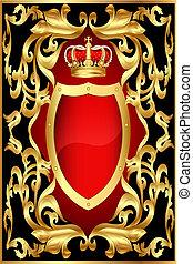 motívum, arany, háttér, pajzs, korona