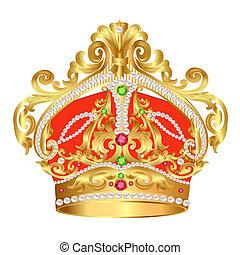 motívum, arany, tsarist, gyöngyszem, korona