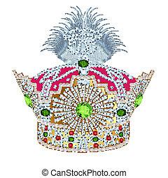 motívum, arany, tsarist, gyöngyszem, korona, fehér