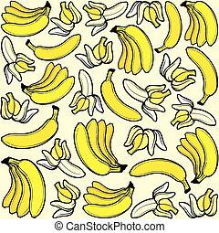 motívum, banán, seamless