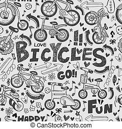 motívum, bicikli, seamless