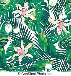 motívum, buja, seamless, tropikus, háttér, white virág