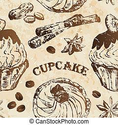 motívum, cupcakes, seamless