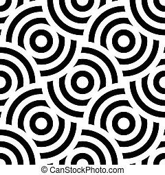 motívum, díszítés, seamless, circles., háttér, csíkos, körkörös