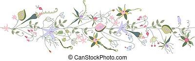 motívum, ecset, seamless, nyár, flowers., stilizált