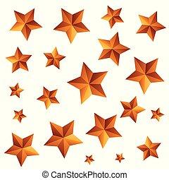 motívum, elszigetelt, csillaggal díszít, arany, ikon