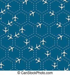 motívum, elvont, hatszög, repülőgépek, seamless