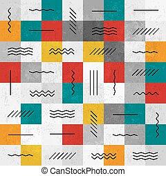 motívum, elvont, megvonalaz, seamless, befest, retro, geometriai