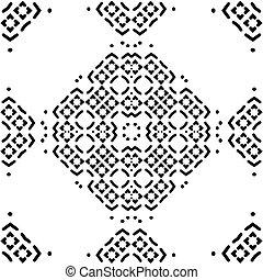 motívum, elvont, ornament., seamless, ábra, vektor, black háttér, virágos, fehér, mózesi