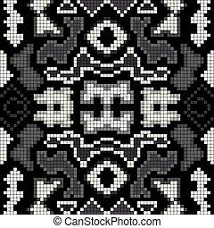 motívum, elvont, seamless, háttér, monochrom, geometriai, pixels