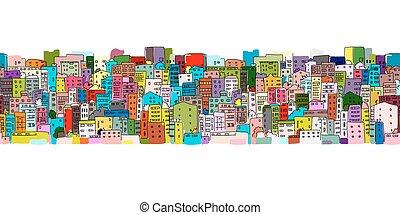 motívum, elvont, seamless, háttér, tervezés, cityscape, -e