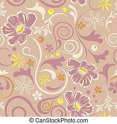 motívum, elvont, seamless, virágos